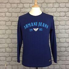 BNWOT ARMANI JEANS MENS UK BLUE LONG SLEEVE T-SHIRT TOP RRP £90