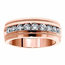 1.00 CT Brilliant Cut Diamond Men's Ring in 18k Rose Gold Channel Setting NEW
