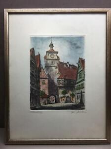 Rothenburg Tauber SignedFriedrich Görtitz Original Etching Print Hand Coloring