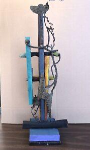 Leon Saulter Wood Sculpture Mid Century Mix Media Abstract Sculpture 80's