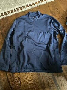 Nike Golf Active Dri Fit 1/4 Zip Athletic Pullover Mens Large Navy Blue