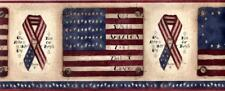 Rustic Patriotic American Flag Country Home Sign Star Brown Wallpaper Border