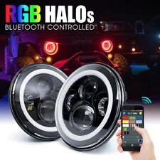 "2x 7"" Headlight LED RGB Halo Projector Angel Eye DRL for Jeep Wrangler JK TJ CJ"