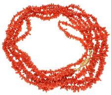 Genuino Natural (NO incrementado) Rojo Coral TRIPLE Hilos En Uno Collar 9mm