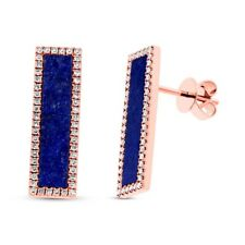 14K Rose Gold Lapis Lazuli Diamond Bar Stud Earrings Rectangular Drop Pushback