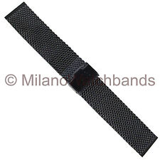 22mm Hadley Roma Shiny PVD Black Stainless Steel Thick Mesh Mens Watch Band 3848