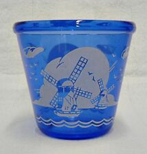 COBALT BLUE GLASS ICE BUCKET WITH WINDMILL DESIGN