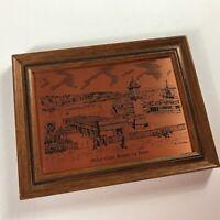 McKee Clock Copper Etching VTG Framed Art Bangor Co England UK Essex City Town