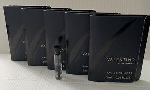 """VALENTINO POUR HOMME """"V"""" 5 x 2 ML Eau De Toilette Splash Sample Size 5 Pcs. RARE"""