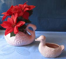 Ente und Schwan rosa als Blumenübertopf oder für Gestecke