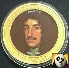 2007 COOK ISLANDS $1 Dollar King Charles II Gold Plated BUNC Coin + COA