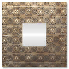 Wall Mirror Metal Home Decor Hanging Sculpture Square Mesh Copper Modern