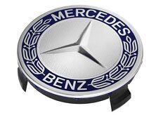 4 orig Mercedes Benz Rad Naben Abdeckung Kappen Deckel Stern Lorbeer Kranz blau