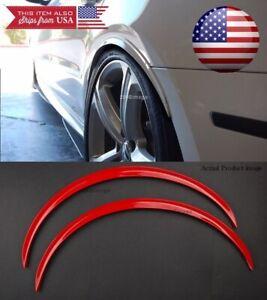 "Pair Red Flexible 1"" Arch Wide Body Fender Extension Lip Guard For Mazda Subaru"