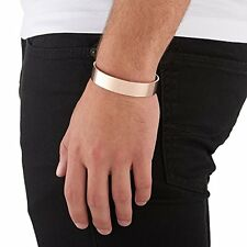 Arque Mens Extra Wide Sterling Silver Rose Gold Cuff Bangle Bracelet Size S/M