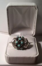 NEW     LADIES STERLING  RING WITH TURQUOISE COLORED STONES & ONYX BEADS- sz 8-9