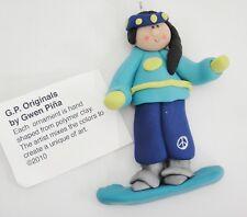 Gwen Pina Original Clay Snowboarder Ornament Peace Sign on Pants 2010 MIB