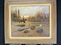 Oil Painting Western Cowboy Americana William Harold Barber- Born 1940 Medium