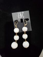 New!  INC White Tiered Beaded Ball Dangle Drop Pierced Earrings