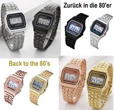Retro Uhr Digital Vintage Damen Herren Metall Armband 80er Jahre LED Kult NEU