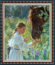 Hand-painted Oil painting art Original Impressionism girl horse on Canvas 24x36""