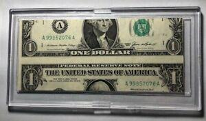 1985 $1 DOLLAR BILL RARE/MISS ALIGNMENT ERROR/MIS-CUT.