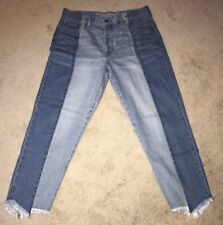 American Eagle Crop Frayed Jeans 2 Tone 50's Style Button Fly Size 12