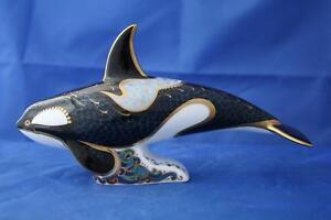 ROYAL CROWN DERBY FAIR ISLE ORCA KILLER WHALE PAPERWEIGHT MMIX - BOXED