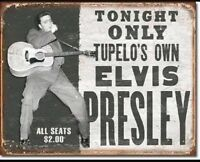 Elvis Presley Tupelo's Own King Of Rock Distressed Retro Vintage Metal Tin Sign