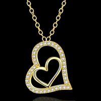 Elegant 18CT Yellow Gold Filled GF CZ Pendant Necklace N-A859 Woman