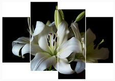 """White Lily Flower Print Set 20"""" X 40""""+ Long 4 Panel Canvas Picture Wall Art"""