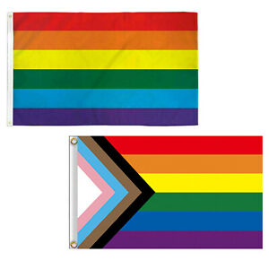 Progress Pride Rainbow Flag 3x5 ft LGBTQ Gay Lesbian Trans People of Color SL