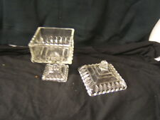 Small Clear Jeanette Pedestal Wedding Candy Dish with Lid VGC