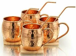 100% copper Moscow Mule Round Mugs With Copper Straw Gift Set For Ayurved Yoga