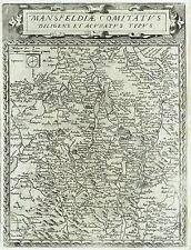 1593 Rare Gerard DE JODE detailed map of MANSFELD  - Sachsen-Anhalt - Germany