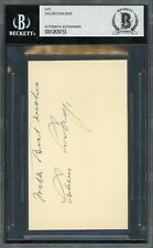 President Calvin Coolidge Signed 3x5 Cut Autographed Beckett Bas Authentic Auto