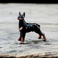 New Doberman Dog Ceramic Figurine Handmade Collectibles Dollhouse Miniature Gift