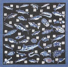 Furoshiki Wrapping Cloth Japanese Sushi Fabric 'Kanji Fish' Cotton Black 50cm