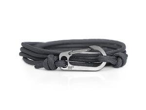 Charcoal Grey & Titanium Carabiner Bracelet Climber Gift Titanium Bracelet