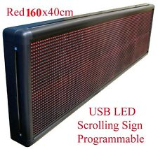 New Red Programmable USB LED Message Scrolling Digital Display Sign 160x40cm Red