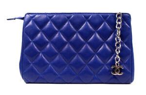 CHANEL Vintage Cobalt Blue Quilted Leather CC Charm Zip Pouch Clutch Bag