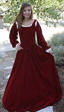 5PC RENAISSANCE DRESS COSTUME DICKENS Red VELVET  all sizes avail