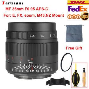 7artisans 35mm F0.95 Large Aperture Portrait Prime Lens For Sony NZ E EOS-M M43