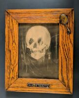 ANTIQUE CHARLES ALLEN GILBERT ALL IS VANITY PRINT W/SEAL 1902 OAK FRAME
