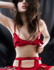 AGENT PROVOCATEUR SEXY RARE RED BIRTHDAY SUIT BRA SUSPENDER & OUVERT OPEN BRIEF