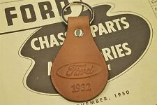 1932 FORD COUPE ROADSTER SEDAN HOT ROD RAT GENUINE TANNED LEATHER KEYCHAIN FOB