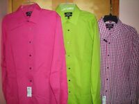 NEW NWT mens hot pink white plaid APT 9 stretch slim fit dress shirt $45 retail
