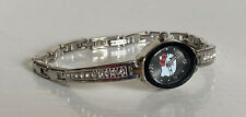 NEW! SANRIO HELLO KITTY SILVER BANGLE BLACK DIAL CRYSTALS WATCH HK1885 SALE