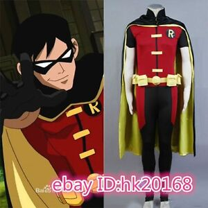 Hot! NEW Batman Young Justice Robin Cosplay Costume Outfit Suit m.02