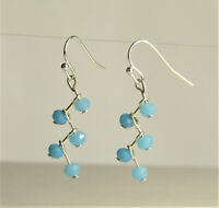 Sparkling Turquoise Crystal ZIGZAG Silver Dangle Earrings USA HANDMADE
